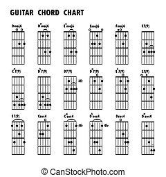 icone, fondamentale, note., nero, musicale, .abstract, corde, fondo., note, set, musica, corde, chitarra, note, nota