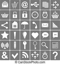 icone, fondamentale, set., smartphone, vettore