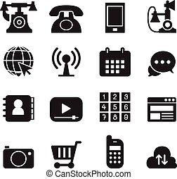 icone, fondamentale, telefono, set, domanda, &