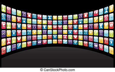 icone, fondo, app, iphone