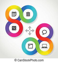 icone fotoricettore, colorare, sagoma, interfaccia, cerchio