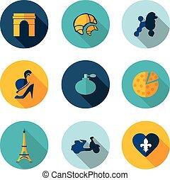 icone, francia, vettore, formato