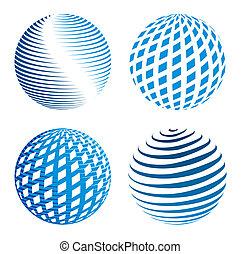 icone, globo, collezione, astratto