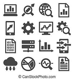 icone, grande, set., analisi, vettore, dati