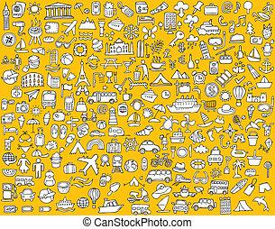 icone, grande, viaggiare, collezione, doodled, turismo
