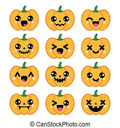 icone, halloween, carino, zucca, kawaii