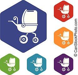 icone, hexahedron, carrello, vettore, tricicli, bambino