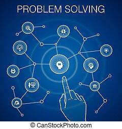 icone, idea, blu, lavoro squadra, problema, concetto, brainstorming, risolvere, analisi, fondo.
