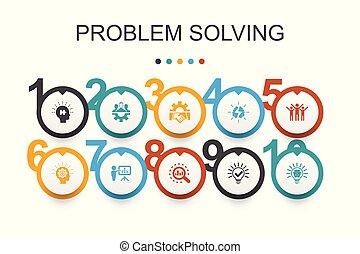 icone, idea, lavoro squadra, template., disegno, problema, brainstorming, infographic, analisi, risolvere