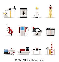icone, industria, benzina, olio