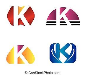 icone, k, logotipo, set, lettera, disegno