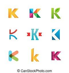 icone, k, sagoma, logotipo, set, elements., collezione, lettera, disegno