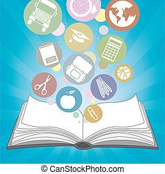 icone, libro, scuola