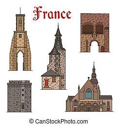 icone, limiti, francia, vettore, architettura, linea