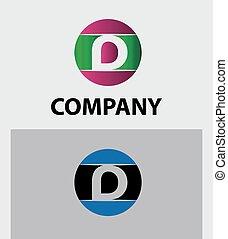 icone, logotipo, set, lettera, disegno, d