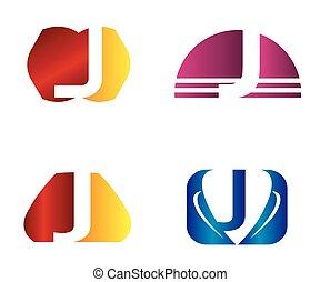 icone, logotipo, set, lettera, disegno, j