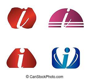 icone, logotipo, set, lettera, disegno