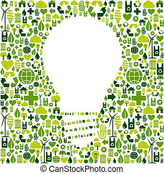 icone, luce, simbolo, sfondo verde, bulbo