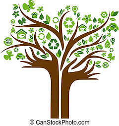 icone, mani, albero, due, ecologico
