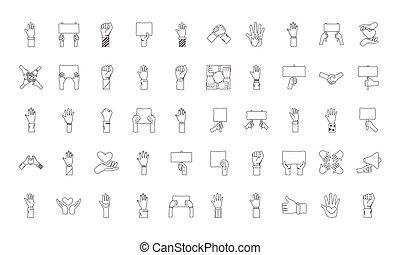 icone, mani, set, cinquanta, protesta, fascio