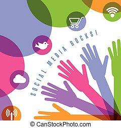 icone, media, mani, disegno, sociale, usando, pagina