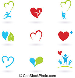 icone, medico, bianco, salute