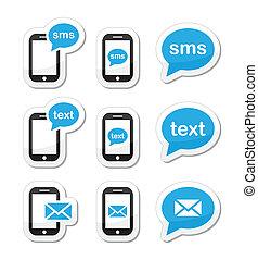 icone, messaggio, sms, mobile, testo, posta