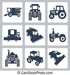 icone, mietitore, isolato, vettore, combinare, trattore