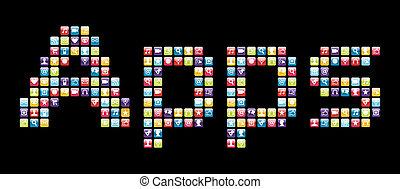 icone, mobile, apps, telefono, set, parola