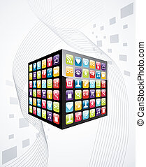 icone, mobile, cubo, apps, telefono, globale