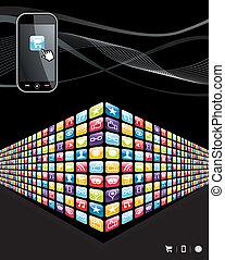 icone, mobile, globale, apps, telefono, parete