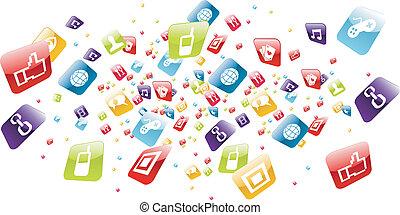 icone, mobile, globale, apps, telefono, schizzo