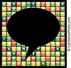icone, mobile, globale, apps, telefono, verde, bolla