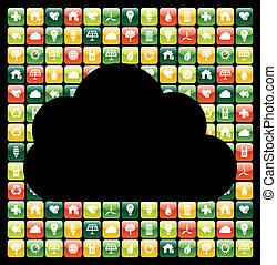 icone, mobile, globale, apps, telefono, verde, nuvola