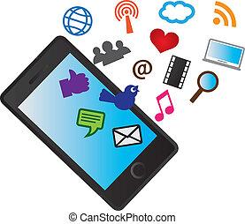 icone, mobile, media, telefono, cellulare, sociale