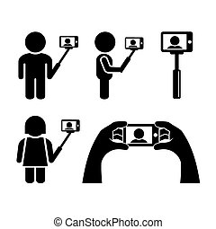 icone, mobile, selfie, telefono, vettore, set.