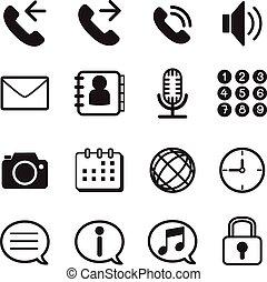 icone, mobile, smartphone, telefono, domanda, &