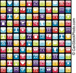 icone, modello, app, mobile, fondo, telefono
