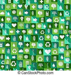 icone, modello, seamless, ambiente, sfondo verde