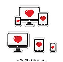 icone, monitor, -, disegno, sensibile