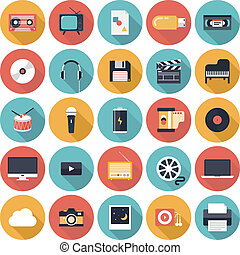 icone, multimedia, appartamento, set