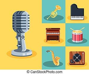 icone, musicale, set, strumenti