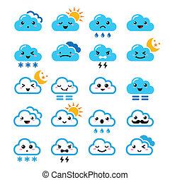 icone, nuvola, manga, carino, -, kawaii
