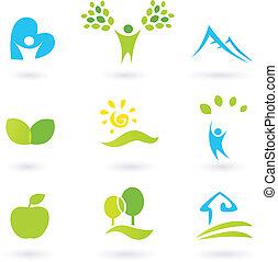 icone, o, elementi, foglie, persone, set, life., paesaggio, living., grafico, organico, ispirare, vettore, natura, illustration., colline