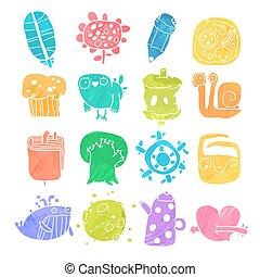 icone, oggetti, set, acquarello, vettore, cartone animato, caratteri