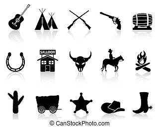 icone, ovest selvaggio, set, cowboy, &