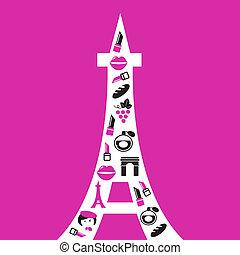 icone, parigi, retro, torre, isolato, eiffel, rosa, silhouette