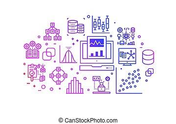 icone, pendenza, analisi, illustrazione, linea, dati