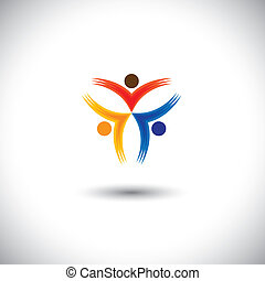 icone, persone, colorito, felice, -, eccitato, vettore, grafico, &, concetto