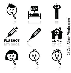 icone, persone, freddo, ammalato, influenza, vettore